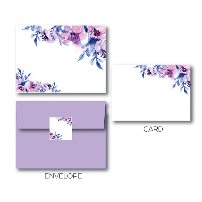 Purple Flower Envelope With A Blank Card